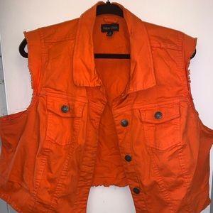 2 denim vest orange & blue with pockets great deal